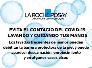 La Roche Posay. EVITA EL CONTAGIO DEL COVID-19 LAVANDO Y CUIDANDO TUS MANOS. Los lavados frecuentes de manos pueden debilitar la barrera protectora de la piel y puede aparecer descamación, enrojecimiento y en algunos casos picor.